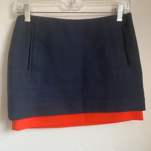 DVF Elley Navy Blue Orange Micro Mini Skirt Size 0